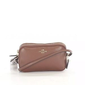 NWT $175 Coach Brown Zip Pebbled Leather Crossbody